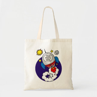 rocket space kid - add your own photo tote bag