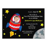 """Rocket Space Ship Photo Birthday Party Invitations 5"""" X 7"""" Invitation Card"""