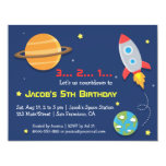 Rocket To Outer Space Party, Kids Birthday 11 Cm X 14 Cm Invitation Card