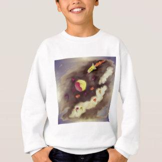 Rocket to the moon and cloud flowers sweatshirt
