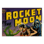 Rocket to the Moon Comic Greeting Card
