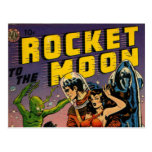 Rocket to the Moon Comic Postcard