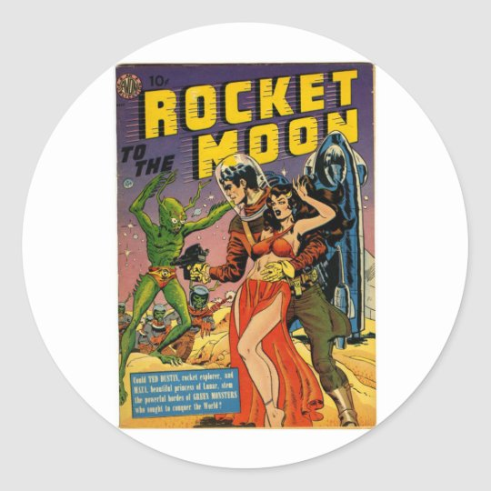 Rocket to the Moon Comic Round Sticker