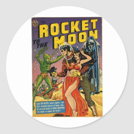 Rocket to the Moon Comic Round Stickers