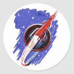 ROCKET TO THE MOON ROUND STICKER