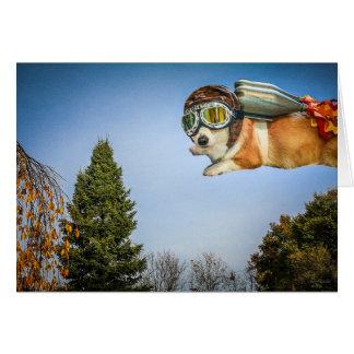 Rocketeer Corgi Saying Hello card