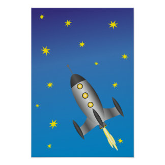 Rocketship starry sky poster
