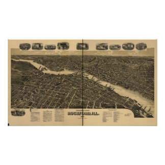 Rockford Illinois 1891 Antique Panoramic Map Posters