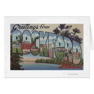 Rockford, Illinois - Large Letter Scenes Card