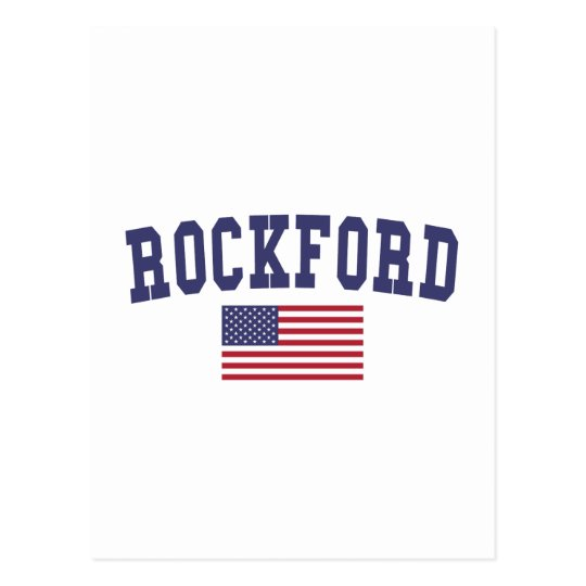 Rockford US Flag Postcard