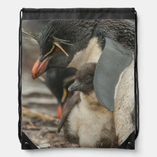 Rockhopper penguin and chick drawstring bag