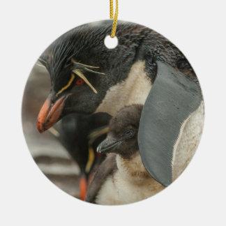 Rockhopper penguin and chick round ceramic decoration