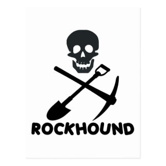 Rockhound Skull Cross Shovel and Pick Postcard