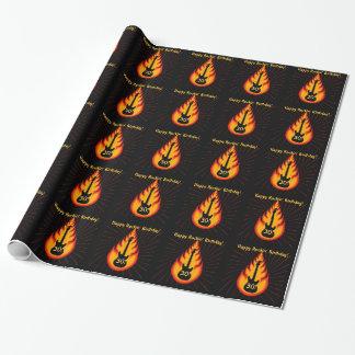 Rockin' 30th Birthday, guitar, flames Gift Paper
