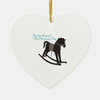 Rockin Around Ceramic Heart Decoration