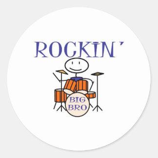 rockin big bro round sticker