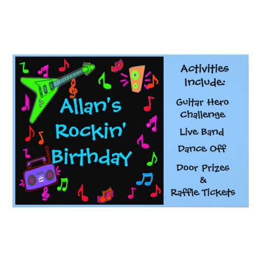 Rockin' Birthday Party Flyer