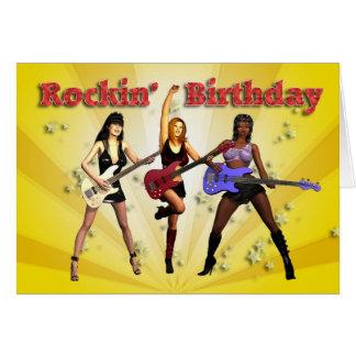 Rockin' birthday with a girl band greeting card