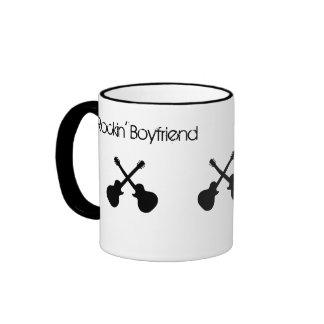 Rockin' Boyfriend, crossed black guitars Ringer Mug