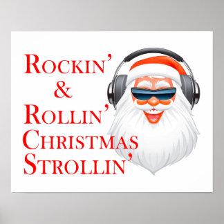 Rockin' Cool Santa Claus With Headphones Poster