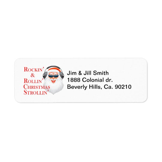 Rockin' Cool Santa Claus With Headphones Return Address Label