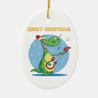 Rockin' dinosaur merry christmas ornament