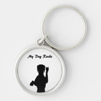 Rockin' Dog Premium Round Keychain