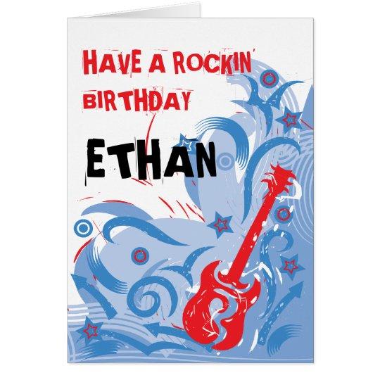 Rockin' guitar birthday card red white & blue