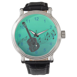 Rockin Guitar with a Musical Score on Turquoise Watch