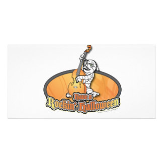 Rockin' Halloween with Mummy on the Upright Bass Photo Card Template