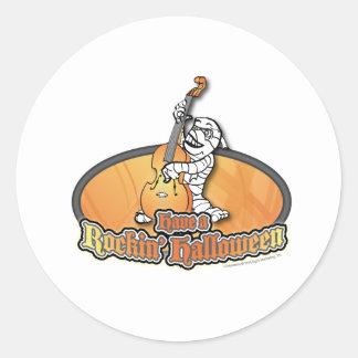 Rockin' Halloween with Mummy on the Upright Bass Round Sticker