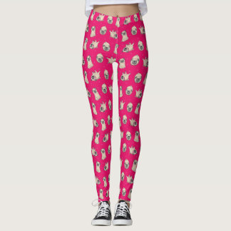 Rockin Hot Pink Pug Leggings! Leggings