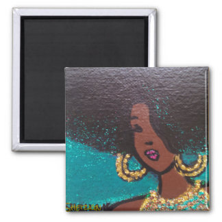 Rockin' my Afro Square Magnet