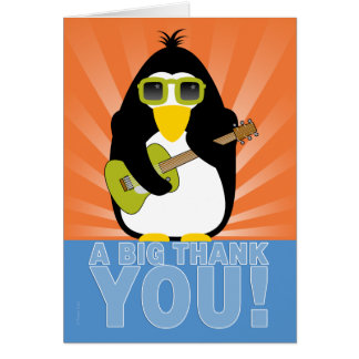 Rockin' Penguin with Guitar Thank You Note Card