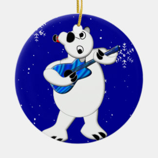 Rockin' Polar Bear with Guitar Round Ceramic Decoration