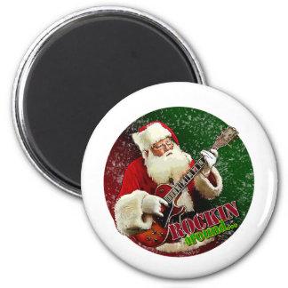 Rockin Santa 6 Cm Round Magnet