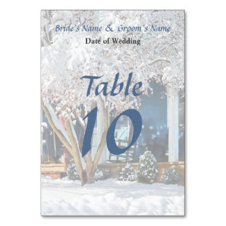 Rocking Chair on Porch in Winter Wedding Products Table Cards