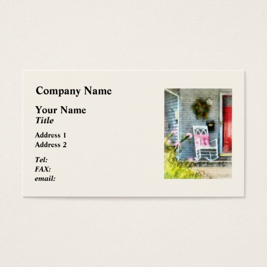 Rocking Chair With Pink Pillow Business Card