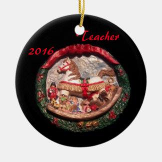 ROCKING HORSE 2016 TEACHER COLLECTOR XMAS ORNAMENT