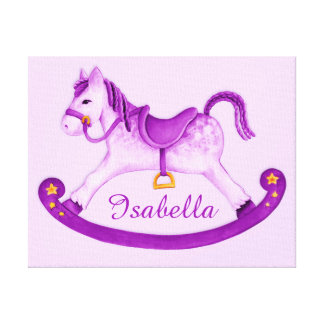 Rocking horse add your name purple nursery art stretched canvas print