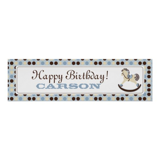 Rocking Horse Birthday Banner Boy Poster