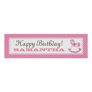 Rocking Horse Birthday Banner for Girls Poster