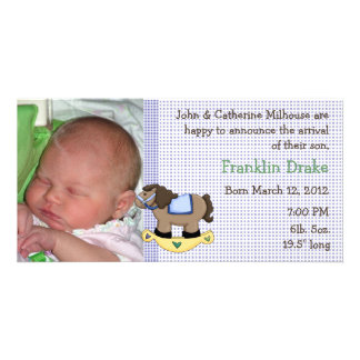 Rocking Horse Boy Birth Announcement Photo Card