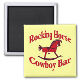 Rocking Horse Cowboy Bar Tank Top Square Magnet