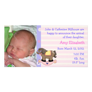 Rocking Horse Girl Birth Announcement Photo Card