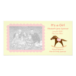 Rocking Horse It's a Girl Photo Card