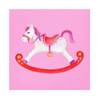 Rocking horse pink watercolor nursery art canvas prints