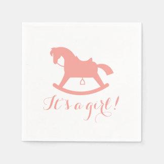 Rocking Horse Silhouette Baby Shower Napkins Pink Paper Serviettes
