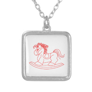 Rocking Horse Square Pendant Necklace