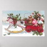 Rocking Horse, Teddy and Wagon Vintage Christmas Print